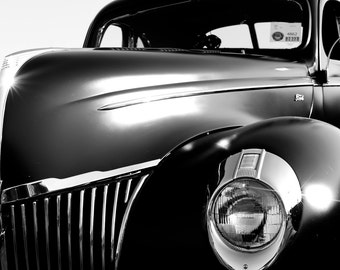 1939 Ford, Classic Car Photography, Black and White, Automobile Photo, Car Photography, Classic Vehicle