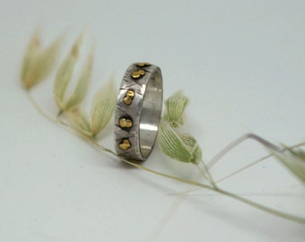 Rustic wedding band- 22k gold dots- sterling silver-unique men's and women's wedding ring