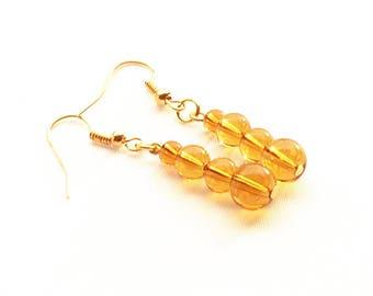 Amber Glass Bead Earrings, Dark Yellow Earrings, Amber Linear Earrings On Gold-Plated Ear-Wires