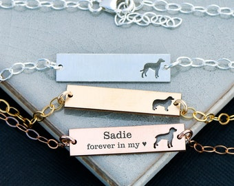 Dog Bracelet Custom • Pet Bracelet Engraved Silver Bar Bracelet Pet Lover Gift Pet Memorial Bracelet Sterling Silver Bracelet Gold