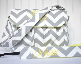 Personalized Chevron DSLR Camera Bag Gray with Yellow with Camera Strap Digital Canon Rebel T3i EOS 55mm or Design Your Own