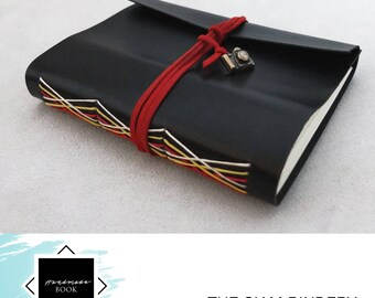 Hand-bound faux-leather notebook