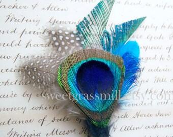 """Peacock - """"Windsorette"""" Clip - Feather Fascinator"""