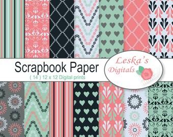 Digital Paper Pack Scrapbooking - Digital backgrounds - Patterned paper for digital scrapbooking - digital paper - patterns