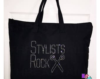 Stylists Rock Tote Bag for Cosmetologists, Hairdressers, and those who do hair.  Black bag, Carryall, Bookbag, Zipper top.  Beautician gift.