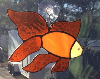 Fancy Goldfish Stained Glass Suncatcher G-06