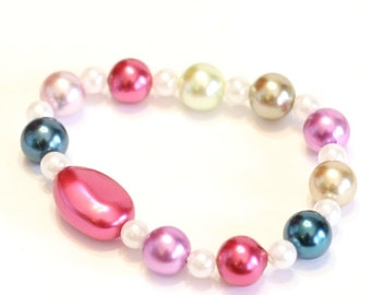 Beaded Glass Pearl Bracelet in Pink, Blue, White, and Purple Beads with a Large Pink Accent Bead, Handmade by Me, Perfect for Layering