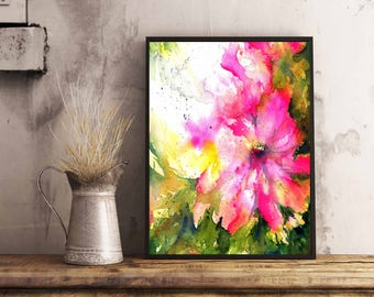 Floral Abstract Watercolor painting, For Her, Valentines Day Gift, Housewarming gift, For the Newlyweds, Art Print ,