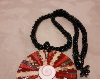 "Vintage Mosaic Abalone Shell Pendant / Black Glass Seed Beaded Necklace / Braided Beaded Necklace / Boho / 1970's / 19"""