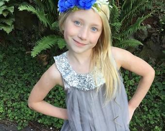 Blue flower headband-ready to ship -flower girl- royal blue headband -newborn headband-, royal blue tieback,flower girl, flower crown