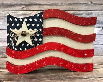4th of July Flag Wood Decor
