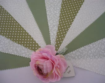 """3m Pretty Sage Green and Ivory  """"Promise"""" Fabric Wedding Bunting"""