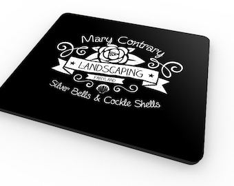 Mary Contrary - mousemat / mousepad - Inspired by Nursery Rhymes and Fairytales - Gardening / Whimsical gift!