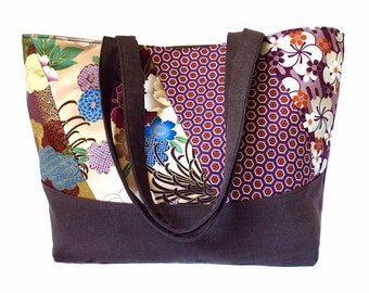 SALE! the honolulu tote bag - patchwork with malt chocolate brown denim, ready to ship