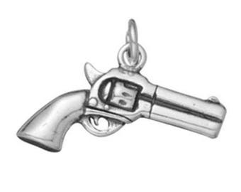 Sterling Silver Gun Charm, Double-Sided Silver Revolver Charm, Second Amendment Charm, USA Seller (S127)