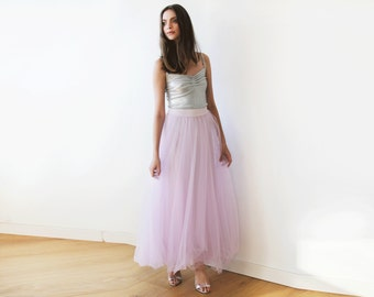 Lilac tulle maxi skirt, Long bridesmaids tulle skirt, Maxi purple skirt, Tulle skirt 3005