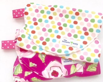 Burp Cloth-Set of 2- Baby Girl -Roses - Polka Dots