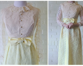 Charming Vintage 1960s Lemon Drop Full Length Dress . Ruffled Sleeves . Buttoned Bodice . Mad Men Style . Easter Outfit . Bridesmaid Dress