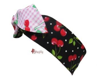 Cherry Dolly Bow Headband, Rockabilly, Womens Headband, Rosie Wrap, Pin Up Hair Wrap, , Rosie the Riveter, Wired Head Wrap