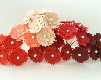 1'' Red Paper flowers / peach paper flowers / blush paper flowers / dark red paper flowers