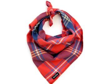 "Bold Red Orange Blue Plaid Dog Bandana Traditional Knot Tie Accessory Small Medium Large ""The Bonfire"""