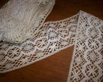 "hand done lace antique lace 2 3/4"" wide"