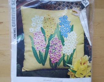 1970s Vintage Crewel Pillow Embroidery Kit by Creative Stitchery - Hyacianths