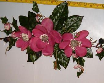 """2 Elegant 26"""" Mauve Color Silk Magnolia Swags W/Berries,Ivy,Etc."""