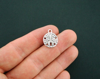 10 Sand Dollar Charms Antique Silver Tone 2 Sided - SC3417