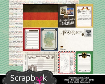 Germany Journal Cards. Digital Scrapbooking. Project Life. Instant Download.