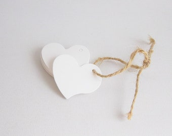 Set of 20 white heart tags, Wedding favor tags, Heart shaped tags, Heart gift tag, White paper tags, Wedding gift tags, Wedding tags