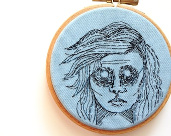 ANXIETY GIRL is BLUE Today, Embroidery Hoop Textile Outsider Art Piece, Small Portrait Wall Art, Blue and Black Line Illustration