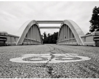 Black and White Architecture Photograph — Route 66 Wall Art — Kansas' Rainbow Bridge Documentary Photo — Americana Art by Liberty Images