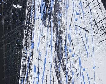 Shower, acrilyc on canvas, acrylic your fabric