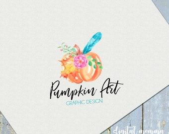 Premade Pumpkin Logo, watercolor Floral, Feather Pumpkin logo, Fall, Autumn Pumpkin Logo, Branding