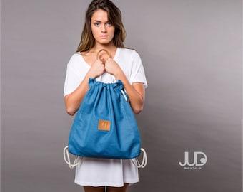 Blue Canvas backpack purse - Multi sack bag gift SALE  tote bag - waterproof rucksack- back pack- gift for her- hipster backpack