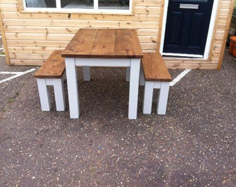 Table & benches 4ft 5ft 6ft 4 seat 6 seat 8 seat reclaim timber painted or waxed.