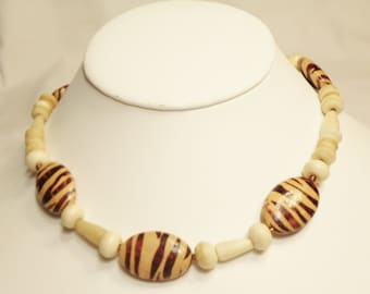 Necklace Brown Animal Print Large Chunky and Bone Necklace, Jungle Necklace, Jungle Jewelry, Animal Jewelry, Animal Necklace by CindyDidit