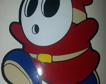 """COLORED (layered) Super Mario Shy Guy Vinyl Decal (3-12"""" tall)"""
