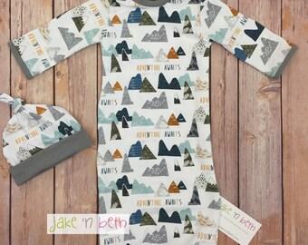 Baby gown, knot hat, and no scratch mittens, newborn set, neutral, mountain adventure