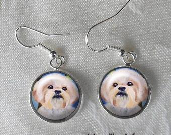 Shih Tzu Drop Earrings ~ Birthday Gift ~ Sweet Dog Earrings ~ Pet Keepsake ~ Trending Items ~ Bespoke Earrings