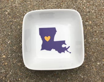 Louisiana College Love - Jewelry Ring Dish - LSU - Louisiana Tech - Tulane - Grambling State - Graduation Gift