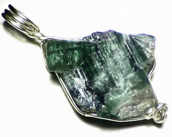 Green Blue Tourmaline Crystal Cluster Necklace (24 ct) Blue Green Tourmaline Crystals Intergrown Pendant Sterling Silver, Tourmaline Cluster