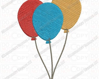 3 Balloons on String Embroidery Design in 2x2 3x3 4x4 and 5x7 Sizes