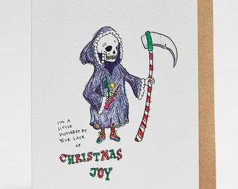 Christmas card, funny Christmas card, Christmas Joy, 'Grim Reaper' - Christmas Card
