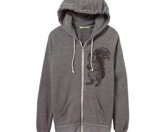 Squirrel Hoodie - Heather Grey Zip Hoodie - Small, Medium, Large, XL - Eco Friendly Clothing