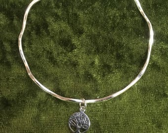 Bangle sterling silver tree of life charm