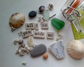 Poem and beach finds in a jar - gift - poem - coastal - treasure