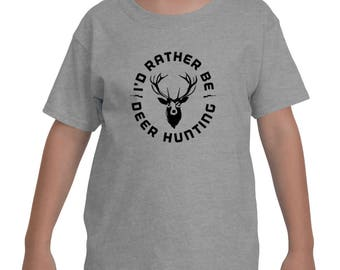I'd Rather Be Deer Hunting Wild Outdoor Activity Youth Short Sleeve T-Shirt