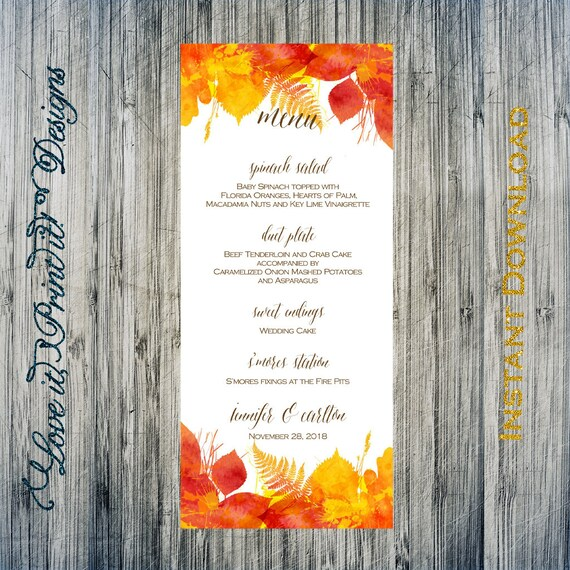 Hochzeit Menü DIY Vorlage Herbst Aquarell verlässt Menü